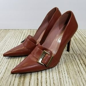 New Cathy Jean Pointed Toe Buckle Leather Heel